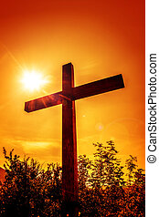 Cross with sun - Christian cross in a rays of sun.