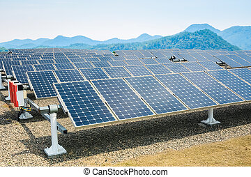 solar energy panels and sunny valley,renewable energy...