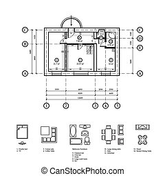 Plan of the apartment Drawing plan apartments and drawing...