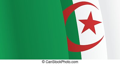 Background with waving Algerian Flag Vector illustration