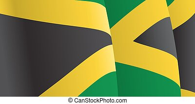 Background with waving Jamaican Flag. Vector illustration