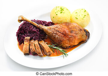 Christmas goose - Crusty goose leg with braised red cabbage...