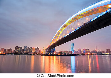shanghai lupu bridge at night ,it is the worlds second...