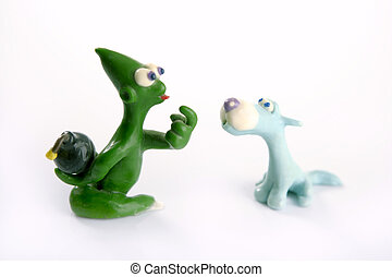 joke treason with hidden hand bomb, plasticine - two friends...