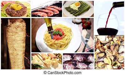 international cuisine montage - a collage including...