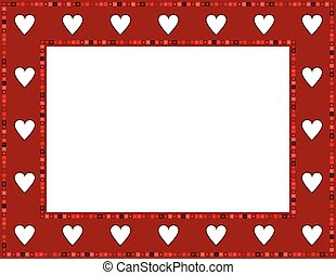 Red Gem Heart Frame - Red Gem Heart patterned frame with...