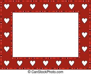 Red Gem Heart Frame - Red Gem Heart patterned frame with...