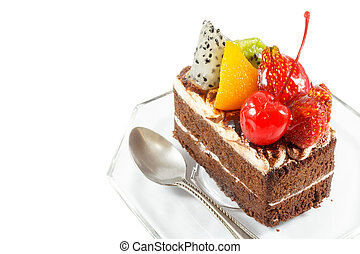 fruitcake and spoon on white background (isolated) and blank...