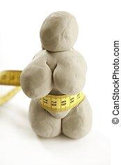 grasa, mujer, hechaa mano, Plasticine, estatuilla
