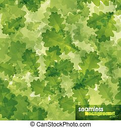 seamless background with green oak leaves