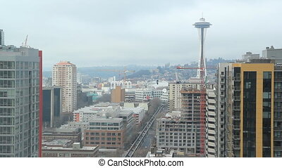 Seattle Landscape. Timelapse. - View of Seattle and the...