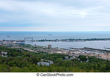 Aerial of Superior Bay and Harbor - Aerial of superior bay...