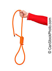 Noose - hand holding Hanging noose of rope, isolated on...