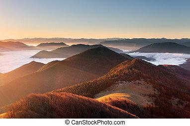 Mountain sunset autumn landscape in Slovakia