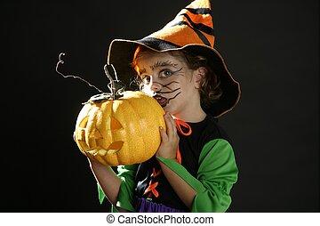 toddler, menina, dia das bruxas, traje