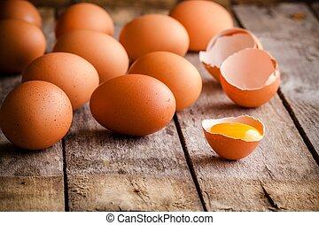 fresco, fazenda, ovos,