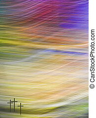 Modern Christian, Easter faith background. Crosses against...