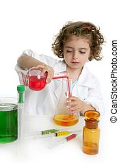 Girl pretending to be doctor in laboratory - Girl pretending...