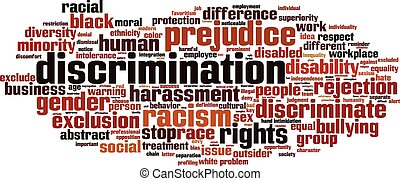 Discrimination word cloud concept Vector illustration