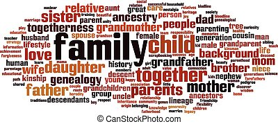 Family word cloud concept. Vector illustration