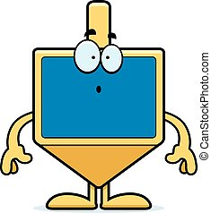 Surprised Cartoon Dreidel - A cartoon illustration of a...