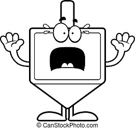 Scared Cartoon Dreidel - A cartoon illustration of a dreidel...