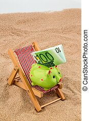beach chair with euro bill - deck chair with euro currency...