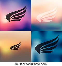 wing icon on blurred background