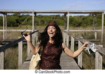 beautiful woman, tourist running stressed - beautiful nature...