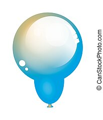 Glossy Party Balloon - Abstract Glossy Blue Party...