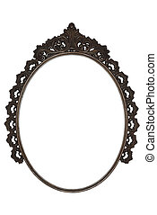 old oval picture frame metal worked on white background