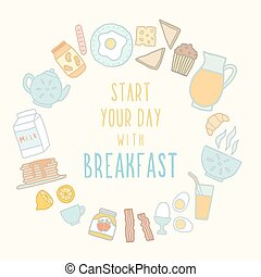 Breakfast food and drink Vector EPS 10 hand drawn...
