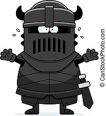 Scared Cartoon Black Knight - A cartoon illustration of the...