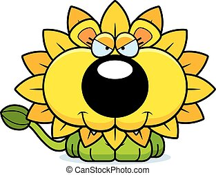 Cartoon Sly Dandelion Lion - A cartoon illustration of a...