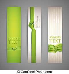 set of banners with green ribbons