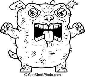 Angry Ugly Dog - A cartoon illustration of an ugly dog...