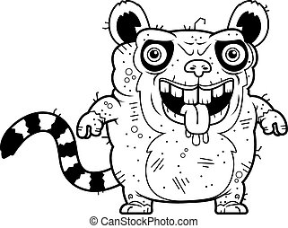 Ugly Lemur Standing - A cartoon illustration of an ugly...
