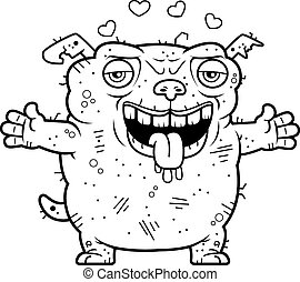 Ugly Dog Hug - A cartoon illustration of an ugly dog ready...