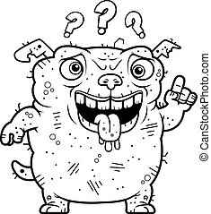 Confused Ugly Dog - A cartoon illustration of an ugly dog...