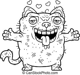 Ugly Cat Hug - A cartoon illustration of an ugly cat ready...