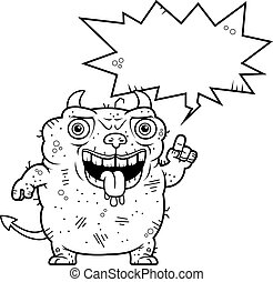 Ugly Devil Talking - A cartoon illustration of an ugly devil...