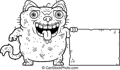 Ugly Cat Sign - A cartoon illustration of an ugly cat with a...