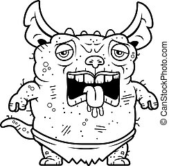 Tired Ugly Gremlin - A cartoon illustration of an ugly...