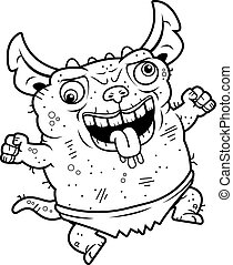 Crazy Ugly Gremlin - A cartoon illustration of an ugly...
