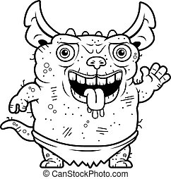 Ugly Gremlin Waving - A cartoon illustration of an ugly...