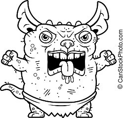 Angry Ugly Gremlin - A cartoon illustration of an ugly...