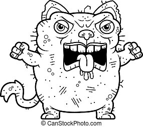 Angry Ugly Cat - A cartoon illustration of an ugly cat...