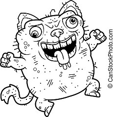 Crazy Ugly Cat - A cartoon illustration of an ugly cat...
