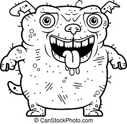 Ugly Dog Standing - A cartoon illustration of an ugly dog...