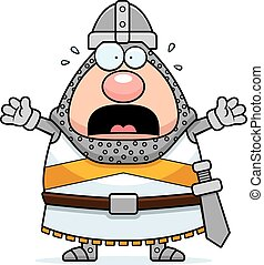 Scared Cartoon Knight - A cartoon illustration of a knight...